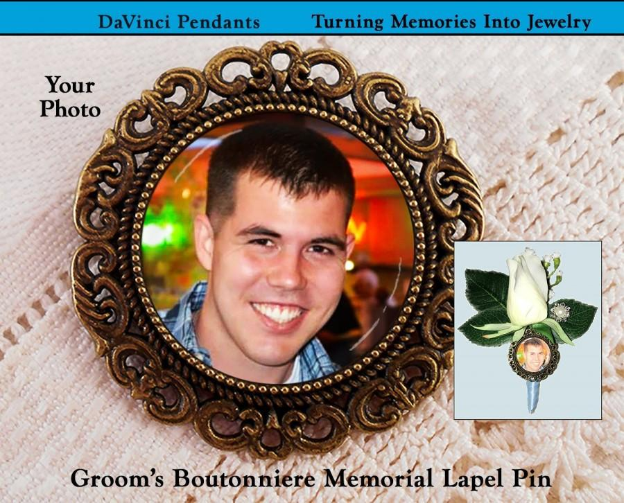Wedding - Grooms Boutonniere Memorial Lapel Pin, Wedding Remembrance Gift, Loving Memory Keepsake Brooch, Sympathy Photo Grief Loss Picture Memento