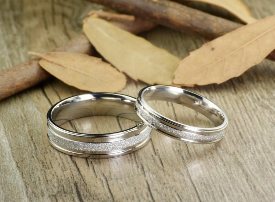 Wedding - Handmade Wedding Bands, Couple Rings Set, Titanium Rings Set, Anniversary Rings Set