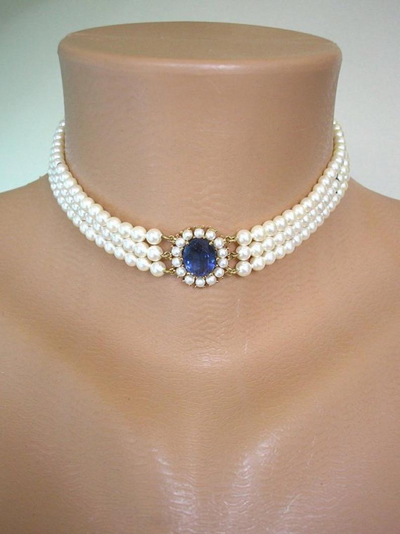 Wedding - LOTUS Royale Pearls, Vintage Pearl Choker, Lotus Pearls, Sapphire Bridal Choker, Wedding Necklace, Pearl Necklace, Bridal Choker