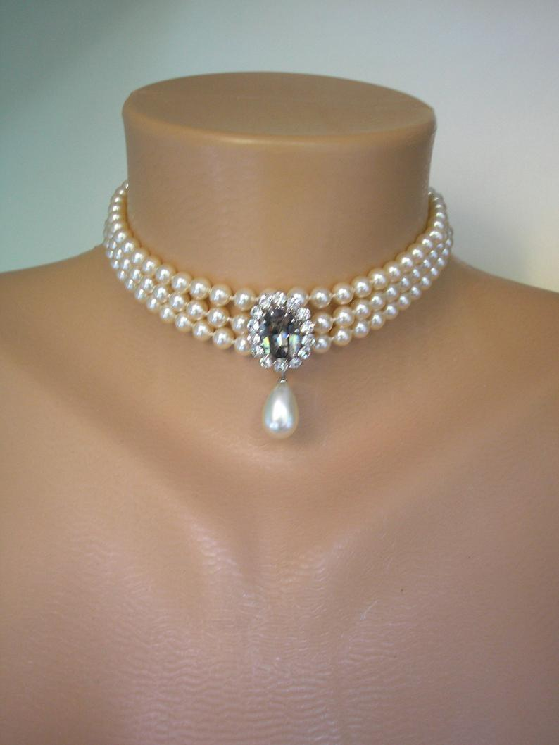 Wedding - Vintage Pearl And Rhinestone Choker, 3 Strand Pearl Choker, Black Diamond Pendant, Pearl And Diamante Necklace, Pearl Bridal Choker, Deco