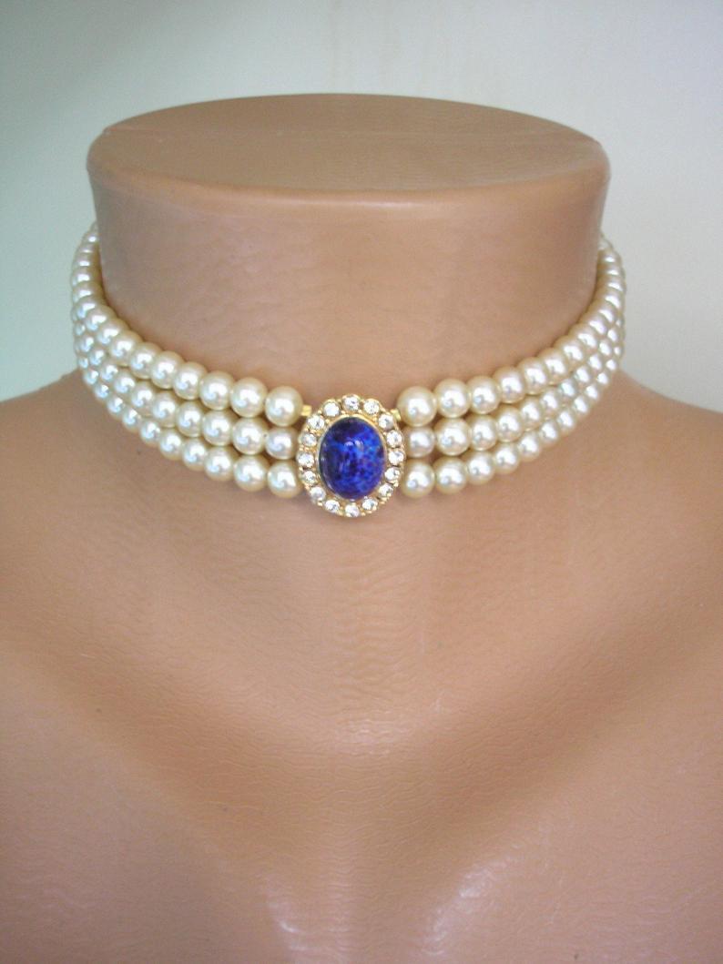 Wedding - Vintage Attwood And Sawyer Pearl Choker, Pearl Jewelry, Lapis Lazuli Choker, Peking Glass, Vintage Bridal Pearls, A&S Jewelry, Blue Wedding