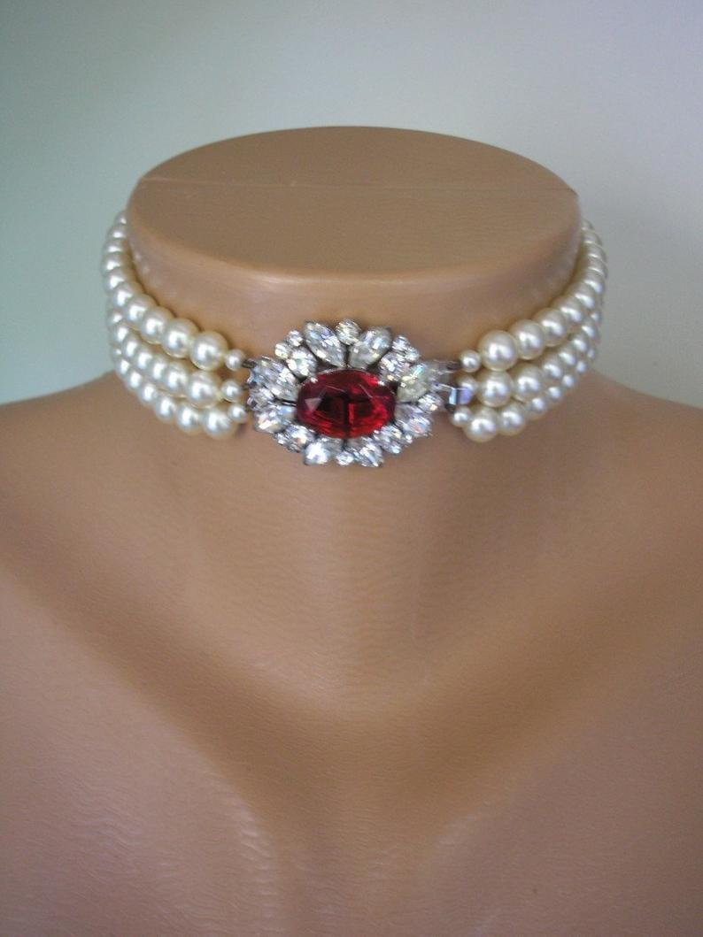 Wedding - Pearl Choker With Ruby Clasp, Bridal Pearls, 3 Strand Pearls, Cream Pearls, Side Clasp, Ruby Wedding Gift, Indian Bridal Choker, Deco
