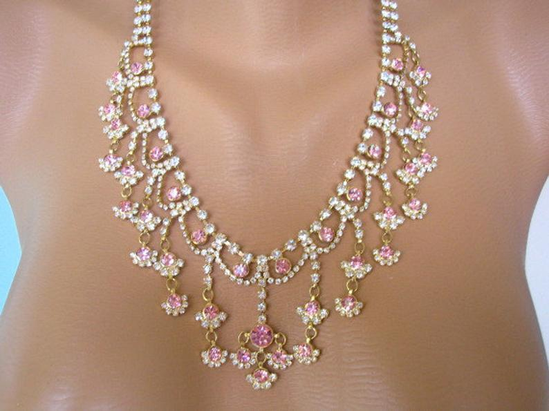 زفاف - Pink Rhinestone Necklace, Bridal Necklace, Great Gatsby, Art Deco, Rhinestone Collar, Vintage Bridal, Pink Wedding, Mother of the Bride