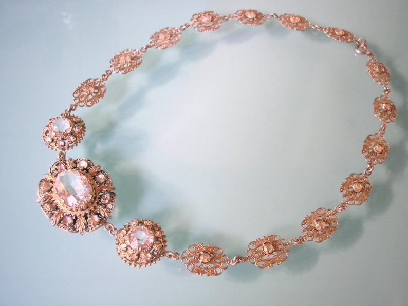 Wedding - Czech Filigree Necklace, Downton Abbey Jewelry, Art Deco, Vintage Filigree Choker, 1930's Jewelry, Crystal Bridal Jewelry, Wedding Necklace