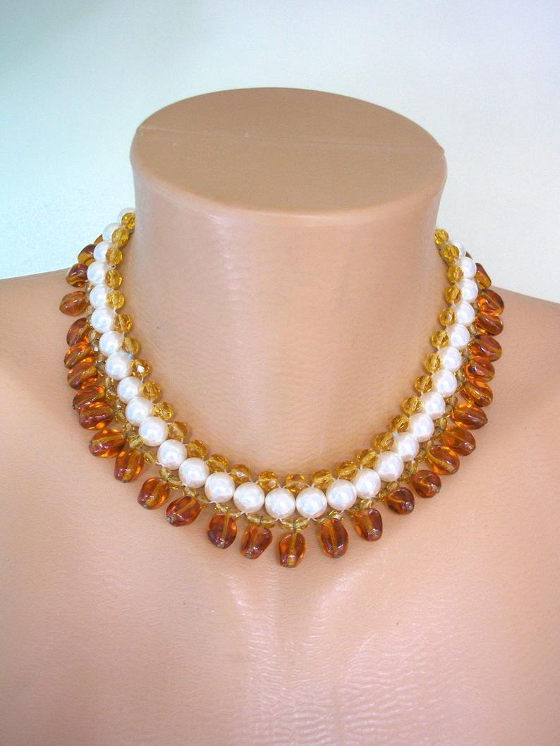 Mariage - Amber And Pearl Choker, Pearl And Amber Glass, Glass Bead Collar, Vintage French Pearl Choker, Bridal Jewelry, Cognac Topaz