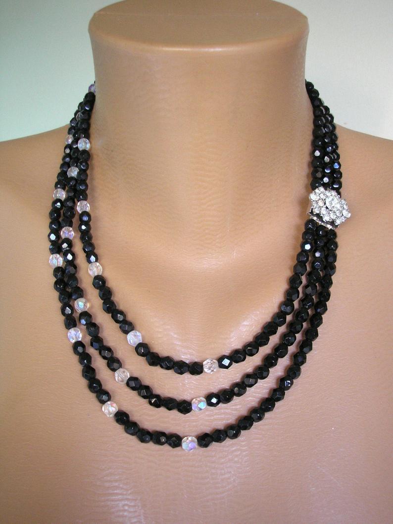 زفاف - Vintage French Jet Necklace, Vintage French Jet Choker, Multistrand Beaded Necklace, Black Jewelry, Bridal Jewelry, Art Deco, Downton Abbey