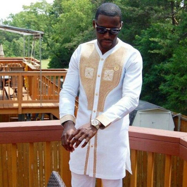 Mariage - African clothing for men, White with Gold Embroidery African Men's Outfit, African Clothing Men's African clothing African wedding outfits