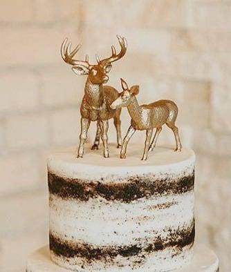 Свадьба - Modern Topper / Barn Wedding Cake Topper / Deer Cake Topper / Wedding Cake Topper / Rustic White Tail Deer Cake Topper / Nature Cake Topper