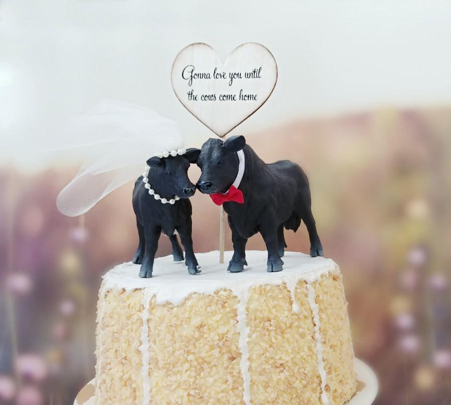Wedding - Angus cow cattle bull wedding cake topper farmer rancher black Angus cow bride and groom farm barn wedding rustic animal decorations cows