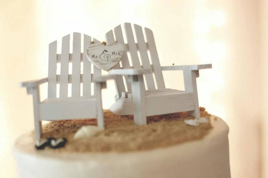 Wedding - White Adirondack chairs-beach chairs-beach-wedding-cake topper-destination wedding-beach-bride-groom-nautical-Mr and Mrs-sign-wedding sign
