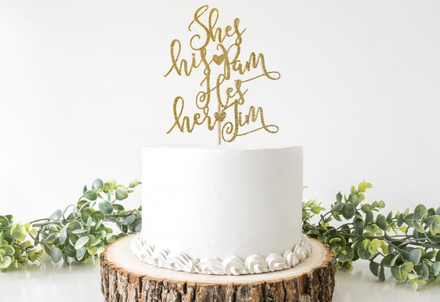 Hochzeit - DOUBLE SIDED -The Office Wedding Cake Topper - Jim and Pam Topper - Glitter Topper - You're The Jim To My Pam - The Office Engagement Topper