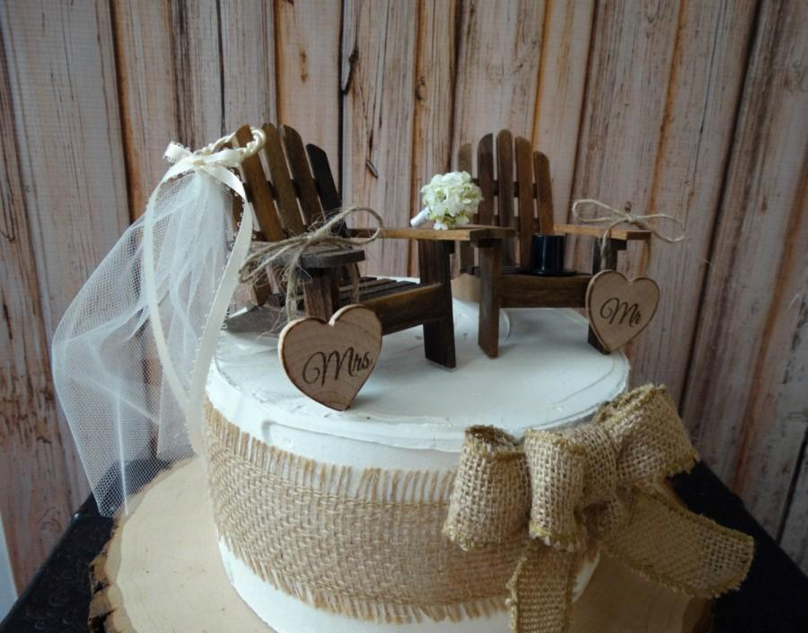 Mariage - Western-rustic-wedding-Adirondack-chairs-miniature-country-lake house-wedding cake topper-fall-country western-bride-groom-custom-cowboy hat