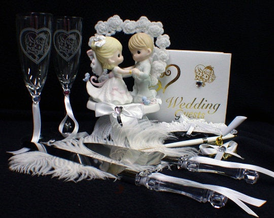 Свадьба - PRECIOUS Wedding Cake Topper LOT glasses server set Guest book Garter for that Special moment groom top  Collector figure