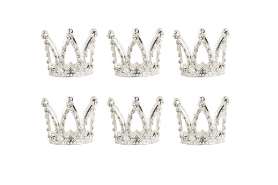 Mariage - Tiny Crowns, Cupcake Topper, Small Crown, Rhinestone Crowns, set of 6, mini silver crowns