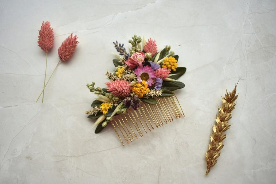 Mariage - Spring Meadow Dried Flower Hair Comb in Pink and Yellow