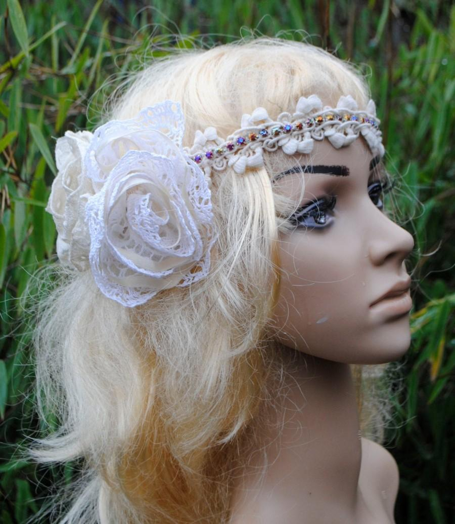 Mariage - Boho bridal headband Ivory and White Lace Flower with diamonte and Vintage French handmade crochet lace
