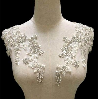 Mariage - silver rhinestone lace applique, crystal beaded rhinestone sash headband shoulder body back appliques for bridal dress accessories