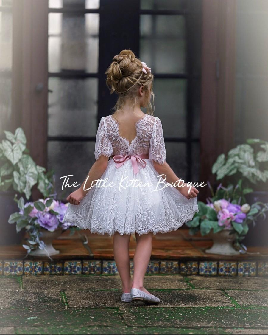 Wedding - Flower girl dress, Bohemian Flower Girl Dress, rustic flower girl dress, boho flower girl dress, lace flower girl dress, boho wedding dress