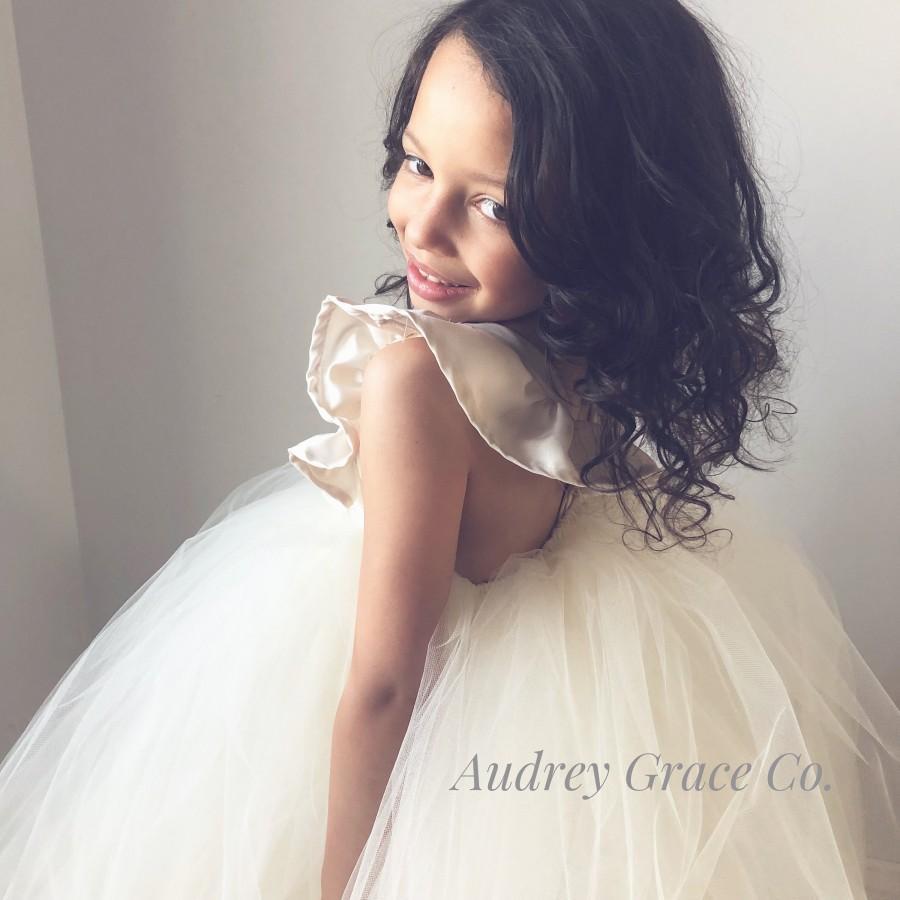 Свадьба - Lace Tulle Flower Girl Dress, Ivory Satin Flower Dress