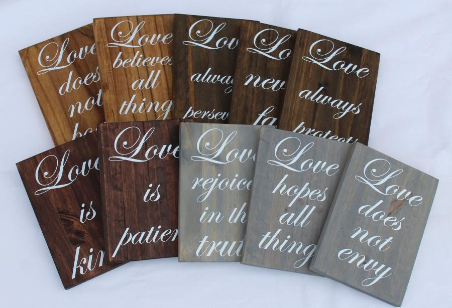 Wedding - Set of 10 Classic Wedding Aisle Sign,Wood Wedding Sign,Love is Patient Sign,1 Corinthians 13:4,Wedding Table Decor,Love is Patient,Isle Sign