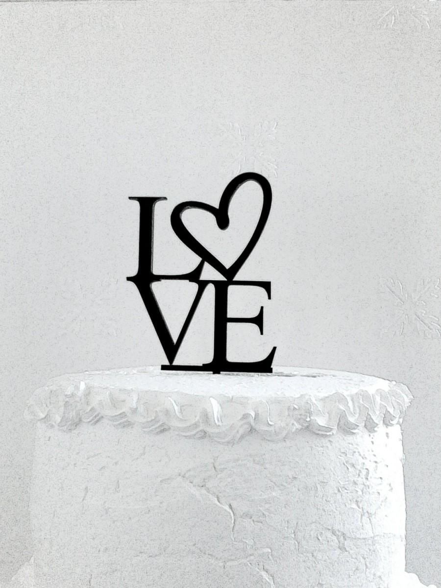 Wedding - Love Cake Topper - Custom Wedding Cake Topper, Heart Cake topper