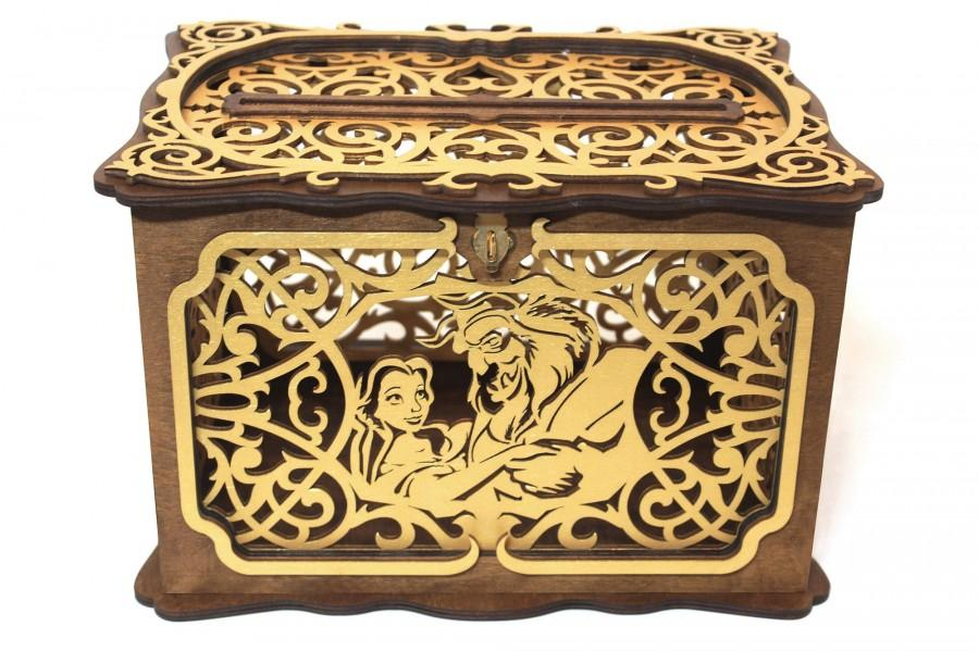 Wedding - Beauty And The Beast Wedding Card Box With Lock With Slot, Disney Fairy Tale Wedding Card Holder, Tale As Old As Time, Money Keepsake Box