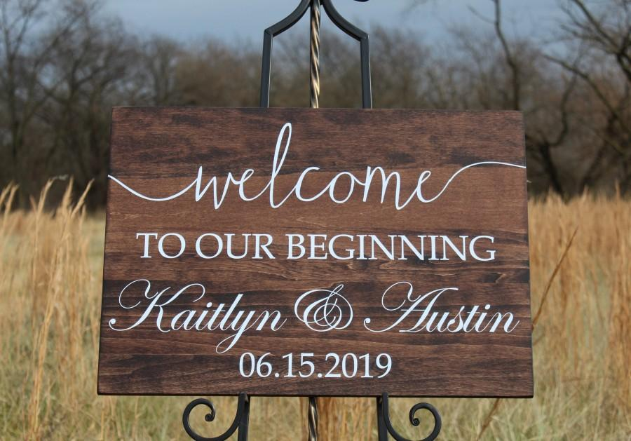 Hochzeit - Wedding Welcome Sign, Welcome to our Beginning Wooden Sign, Personalized with Name and Date, Wedding Decor
