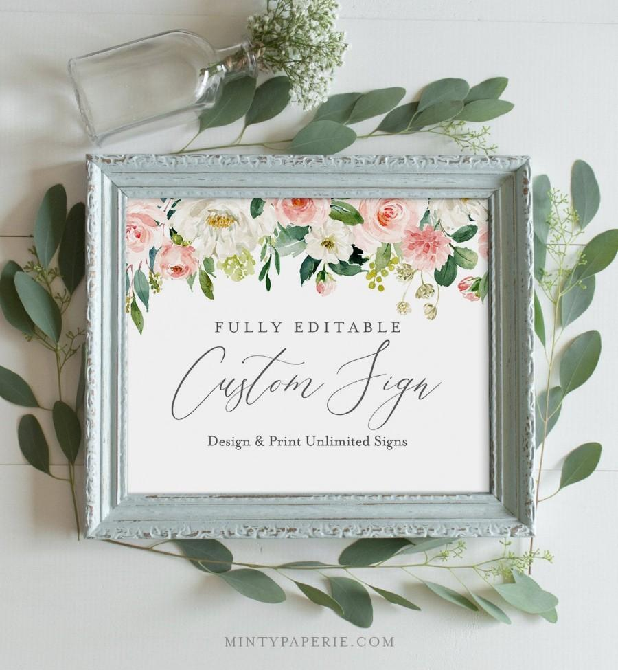 Wedding - Wedding Sign Template, INSTANT DOWNLOAD, Self-Editing Template, Create Unlimited Signs, Printable, Blush Florals, Boho, Greenery #043-112CS