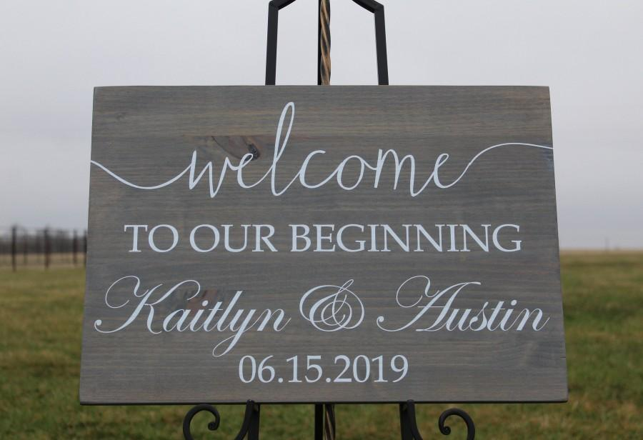 Mariage - Classic wedding welcome sign,personalized wedding welcome sign,wood wedding welcome sign,welcome sign,personalized wedding sign,beginning