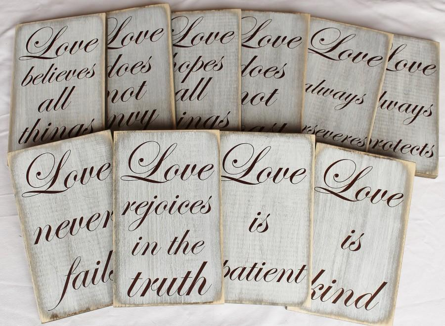 Wedding - Set of 10 Wedding Aisle Signs, Love is Patient Signs, Wood Wedding Sign, 1 Corinthians 13:4,Wedding Table Decor,Weathered Rustic,Isle Sign