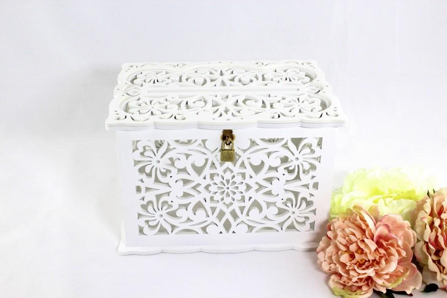 Свадьба - Wedding Card Box With Lock White, Wedding Money Box With Slot, Wedding Wishing Well Card Holder, Wooden Card Box, Wedding Bank, Keepsake Box