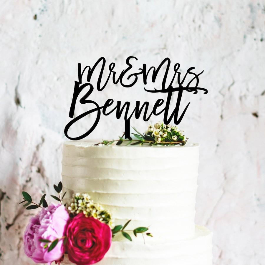 Mariage - Custom Wedding Cake Topper, Custom Calligraphy Personalised Mr & Mrs Cake Topper for Wedding, Personalised Wedding Cake Topper Australia
