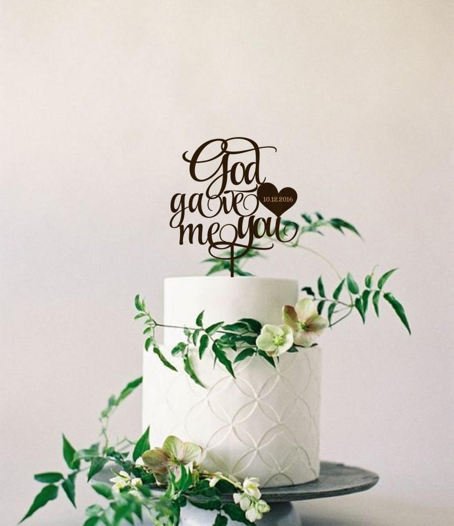 Hochzeit - Wedding Cake Topper God gave me you Personalized Wood Cake Topper  Golden Silver  Cake Topper  Wedding Cake Topper Rustic Cake topper