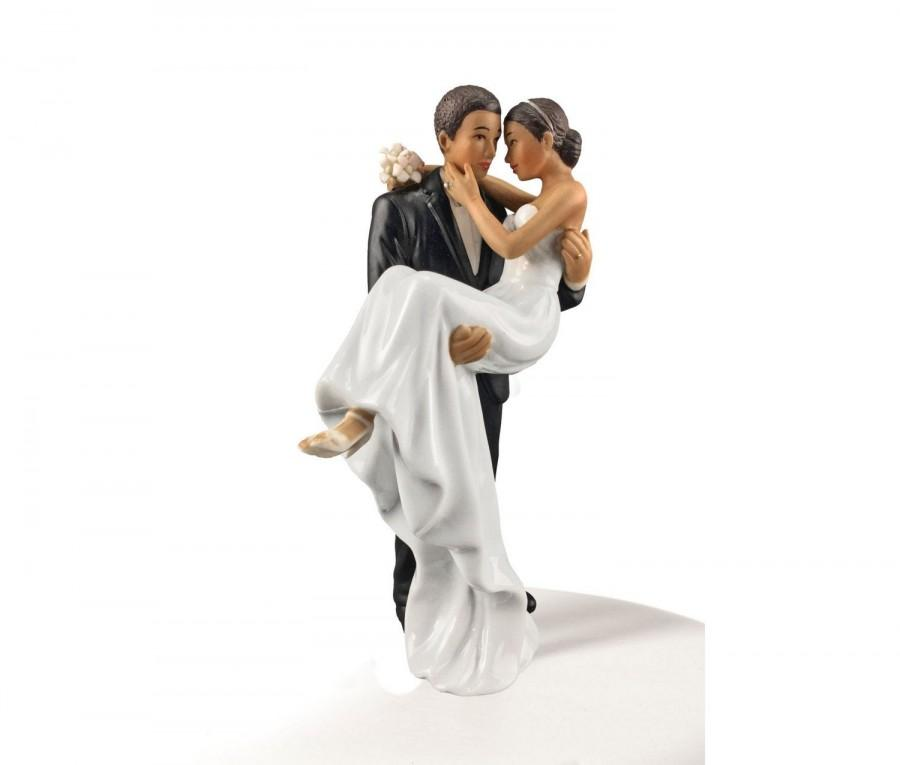 Wedding - African American Groom Holding Bride Traditional Cake Topper Figurine - Custom Painted Hair Color Available - 707528