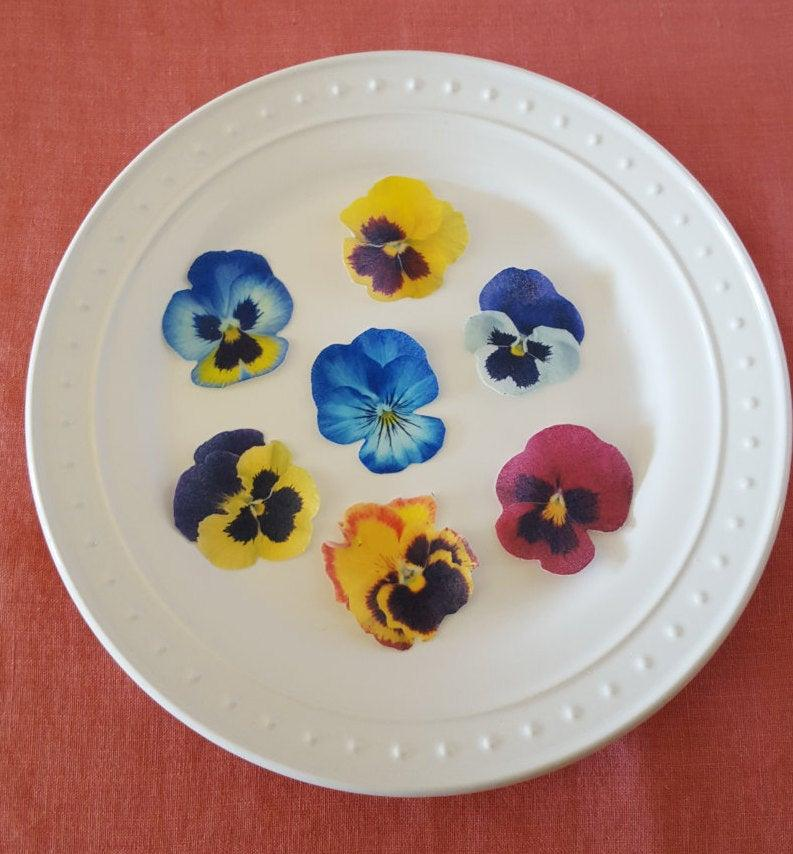 Hochzeit - Edible Pansy Cake, Cupcake & Cookie Toppers - Wafer Paper or Frosting Sheet