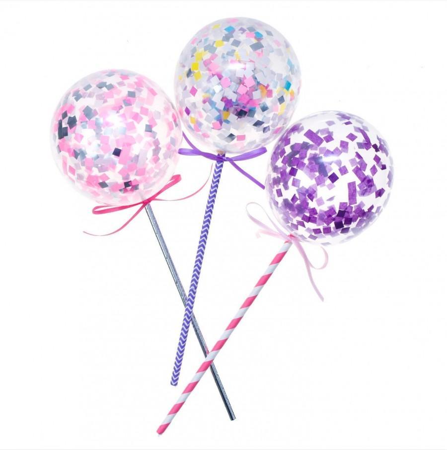 "Wedding - Unicorn Pink Purple Mini Cake Topper Balloons 5"""