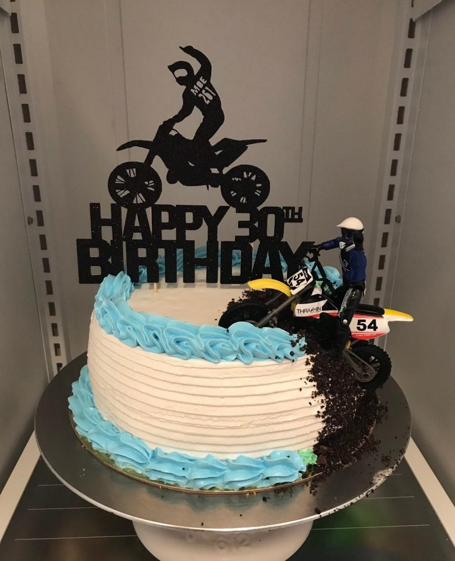 Свадьба - Boy Girl Guy- Motorbike Motocross Dirt Bike Motorcycle Cake Topper - Custom Name - Happy Birthday Sweet 16 Personalized with your Name Age
