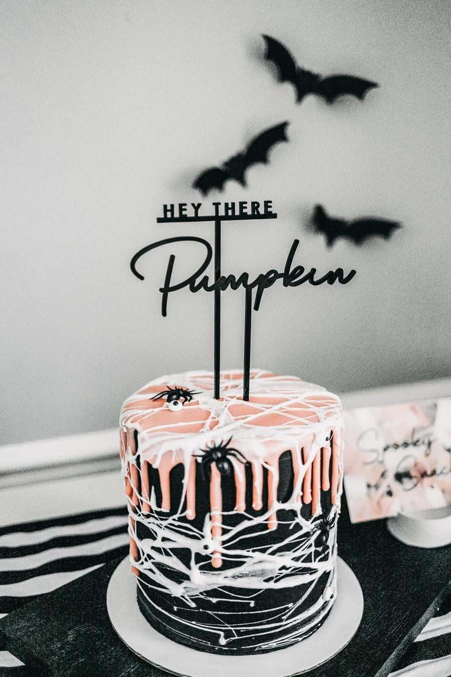 Wedding - hey there pumpkin cake topper // halloween cake topper // black acrylic cake topper