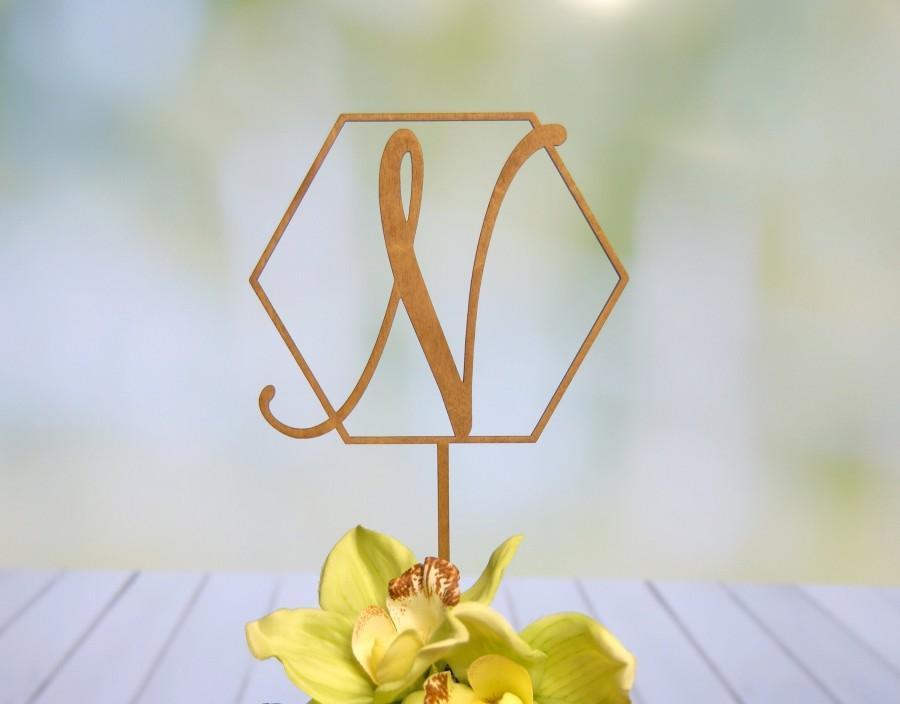 زفاف - Personalized Elegant Hexagon Shape Cake Topper - Monogram Initial Letter Topper - Bridal Shower - Wedding-Anniversary-BD Rustic Cake Topper.