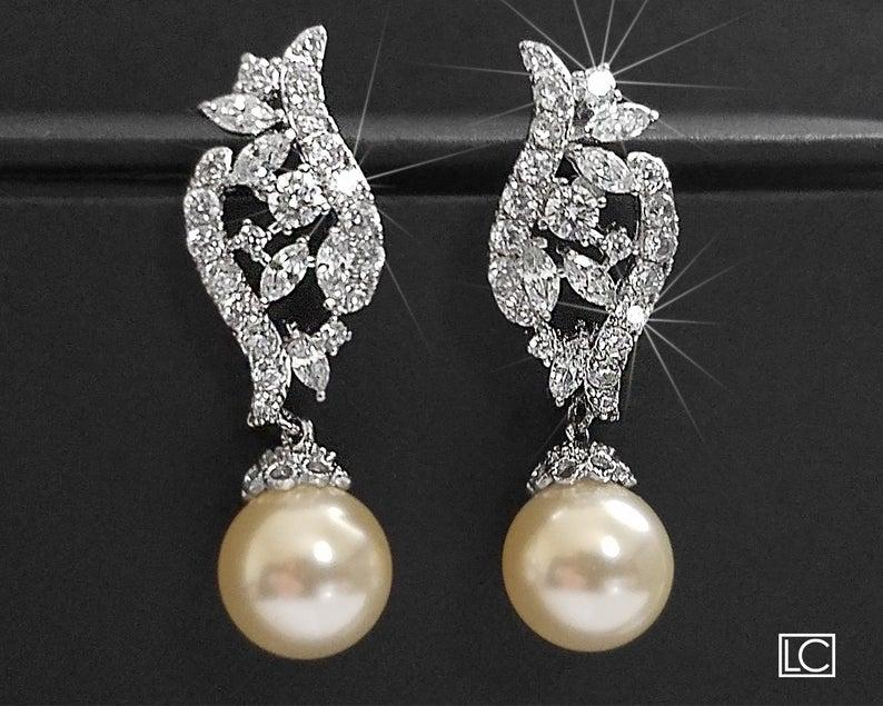Hochzeit - Pearl Bridal Earrings, Swarovski Ivory Pearl Earrings, Wedding Pearl Cubic Zirconia Earrings, Bridal Silver Jewelry, Pearl Sparkly Earrings