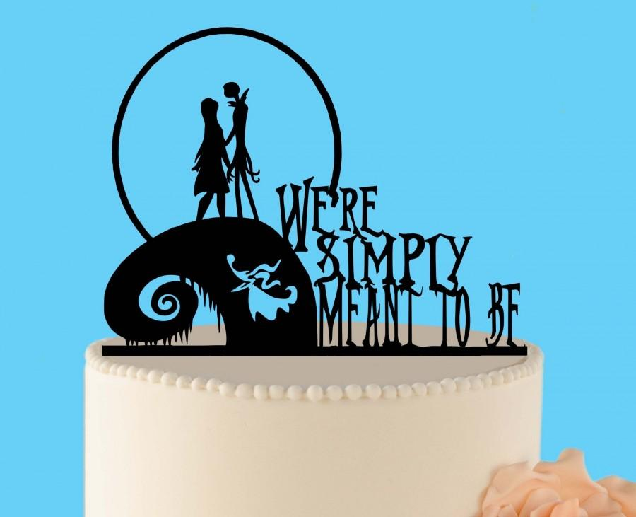 Mariage - Simply meant to be wedding cake topper, Jack and Sally, Nightmare before Christmas, Jack Skellington Cake Topper, Halloween Wedding Topper