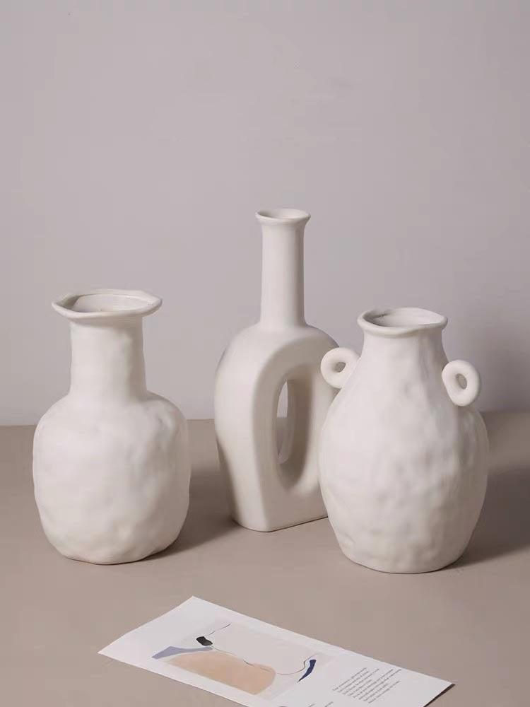 Mariage - New White Minimalist Bisque,Ceramic Minimalist vase,Handmade Ceramic Vase,Minimalist Decor, Flower vase,white Raku,Living Room decor