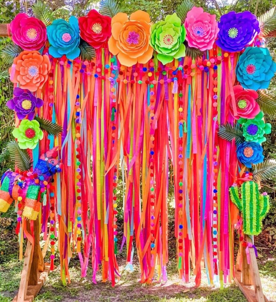 Wedding - Colorful Backdrop, Wedding Backdrop, Ceremony Backdrop, Photo Booth, Streamer Backdrop, Fringe Backdrop, Party Decorations, Boho Wedding