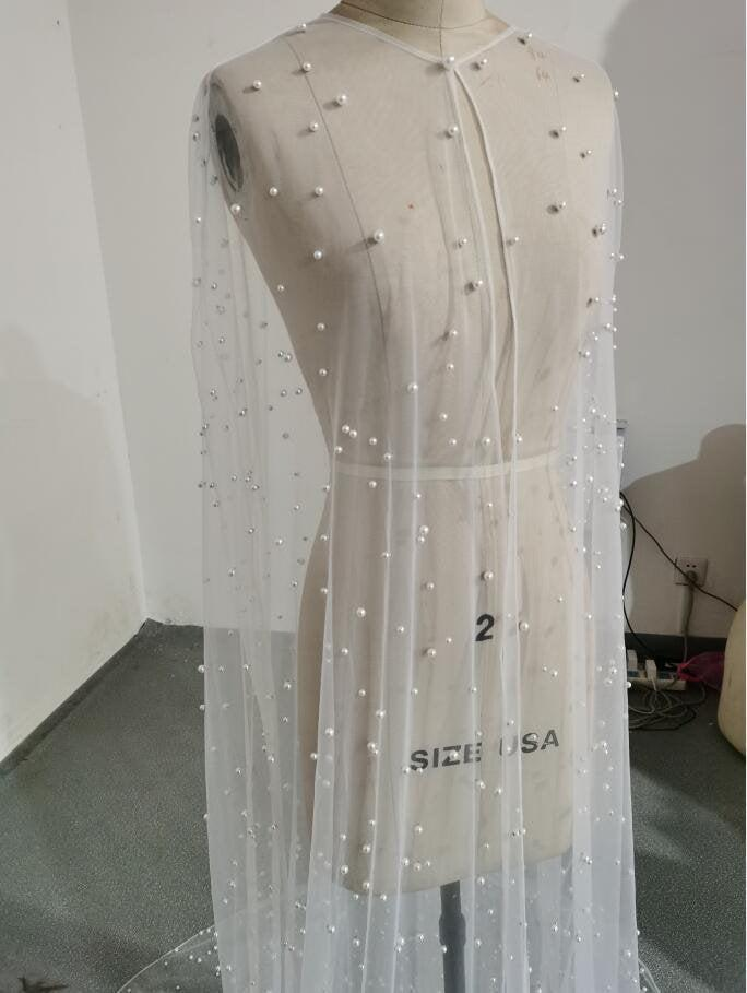 زفاف - Modern Soft Tulle Pearl Wedding Cape jacket,wedding bridal Shoulder cover up,Bridal Jacket cape, pearl wedding cape, modern wedding cape