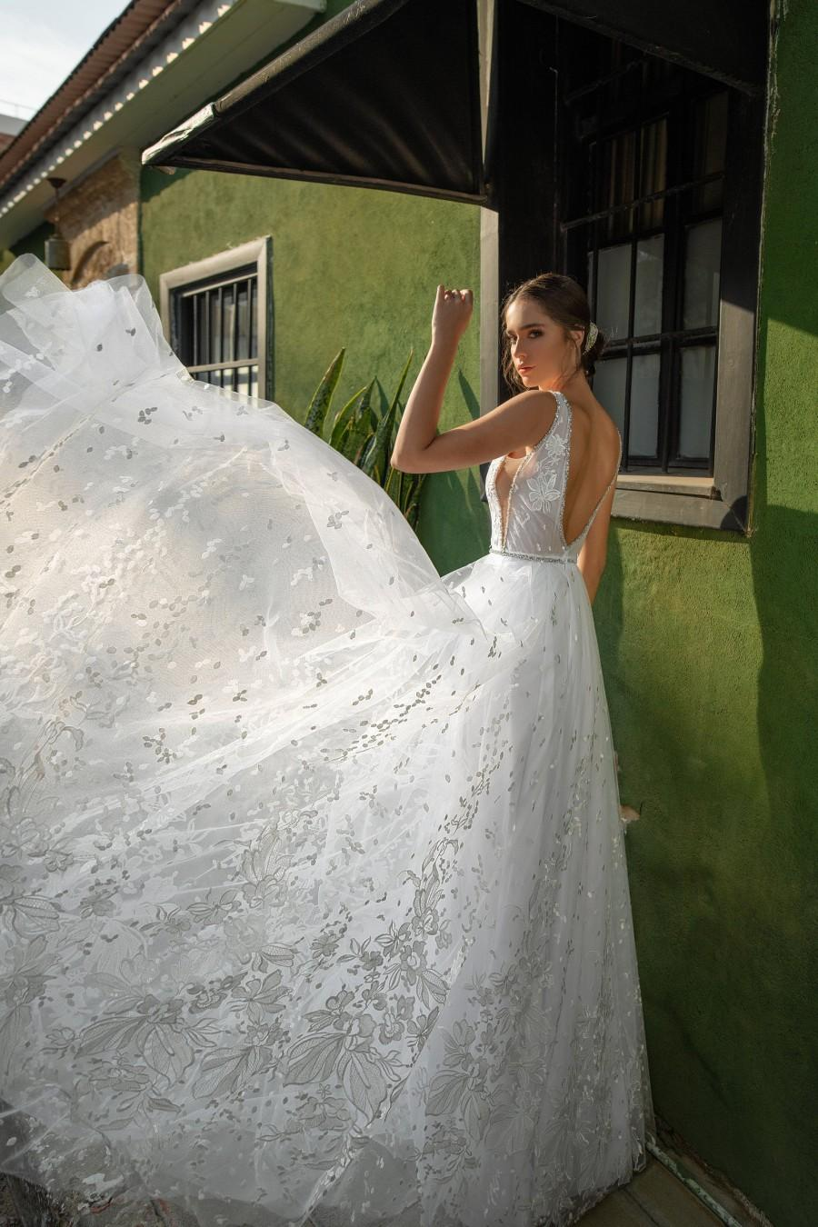 Hochzeit - White Lace Wedding Dress, Floral Lace Wedding Gown, Open Back Wedding Dress, Deep V Neck Gown, Unique Bridal Gowns, Custom Made Wedding Gown