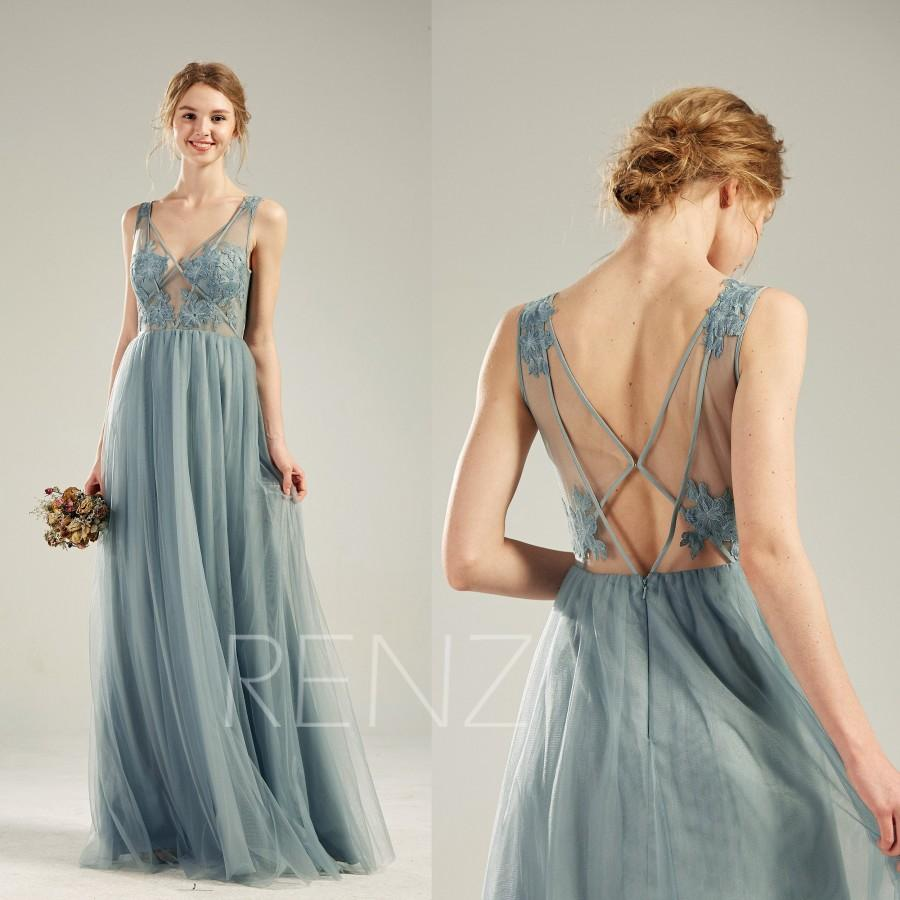 Mariage - Bridesmaid Dress Dusty Blue Tulle Party Dress Long Lace Wedding Dress Illusion V Neck Prom Dress Sexy Back A-line Formal Dress(LS508)