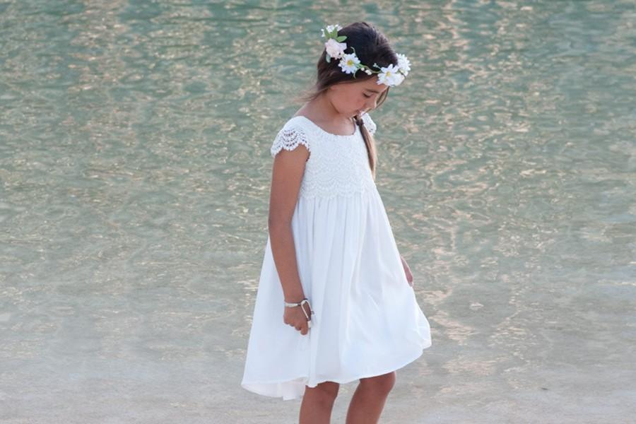 Mariage - Beach Flower Girl Dress, Elegant Flower Girl Dress, Cap Sleeve Flower Girl Dress, Beach Flower Girl Dresses, Lace Flower Girl Dresses