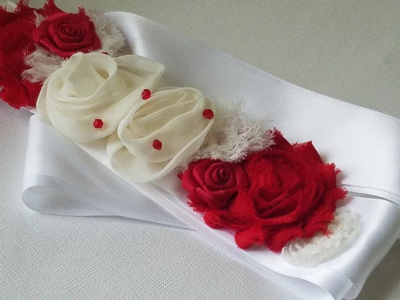 Hochzeit - Red White Wedding Sash, Flower Rustic Dress Sash, Red White Floral Belt, White Satin Red Wedding Belt, Bridal Party Gifts Maternity Red Sash