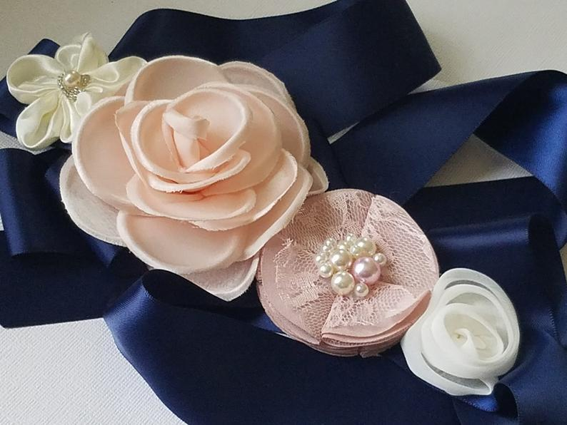 Hochzeit - Navy Blue Blush Pink White Wedding Sash, Blue Dusty Pink Light Pink Floral Sash, Maternity Sash, Navy Blue Dress Sash, Blue Embellished Belt