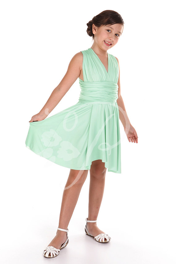 Mariage - Junior / Mini Bridesmaid Dress Infinity Dress Seafoam Green Convertible Dress Multiway Wrap Flower Girl Dress
